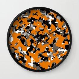 Orange Camouflage Wall Clock