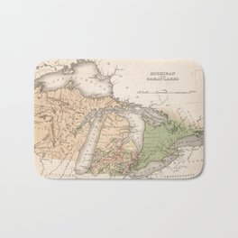 Vintage Map of The Great Lakes (1837) Bath Mat