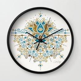 Sacred Lotus Mandala – Teal & Bronze Palette Wall Clock