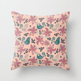 Bird in the nest Throw Pillow