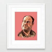 "sopranos Framed Art Prints featuring Tony Soprano by Patrick Fodéré  ""Doud"""