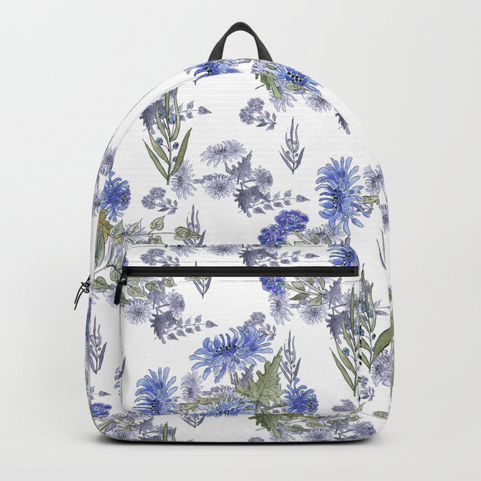 Watercolor floral pattern . 12 Backpack