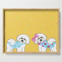 Bichon Frise Holidays yellow cute dogs, Christmas gift, holiday gift, birthday gift, dog, Bijon Serving Tray