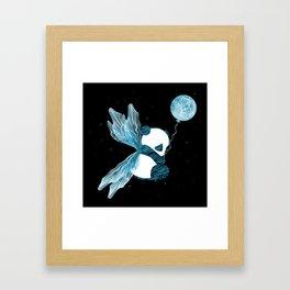 Space Angel Panda Bear - blue Framed Art Print