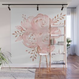 Roses Rose Gold Glitter Pink by Nature Magick Wall Mural