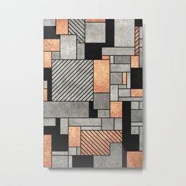 Random Pattern - Concrete and Copper Metal Print