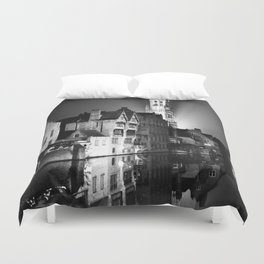 shot on film .. belfry night reflection Duvet Cover