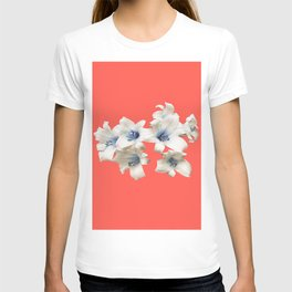Blue Heart Lilies on Living Coral T-shirt