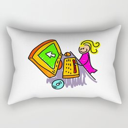 Computer Girl Rectangular Pillow