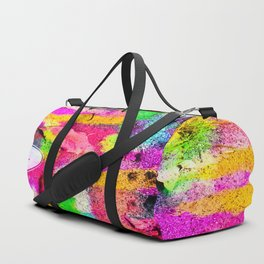 canvas shoes with colorful painting abstract in pink yellow green blue Duffle Bag