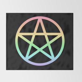 Rainbow Pentacle on Black Throw Blanket