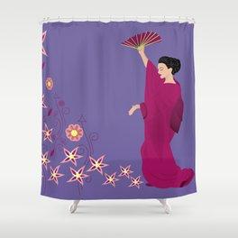 Beautiful woman in kimono Shower Curtain