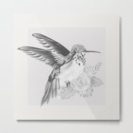 Hummingbird Brushed Nickel Metal Print