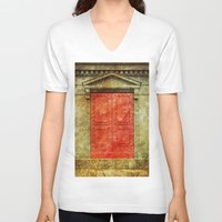 doors V-neck T-shirts featuring Red Doors by davehare