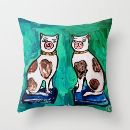 Victorian Staffordshire Cat Painting on Emerald, Hunter, and Jungle Green Throw Pillow