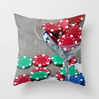 poker Throw Pillows featuring Poker night by smittykitty