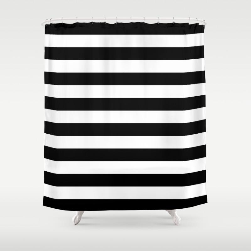 Parisian Black White Stripes Horizontal Shower Curtain