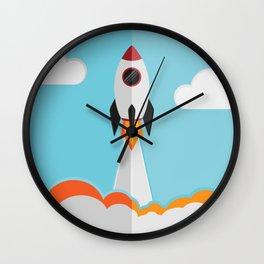 rocket ship launch Wall Clock