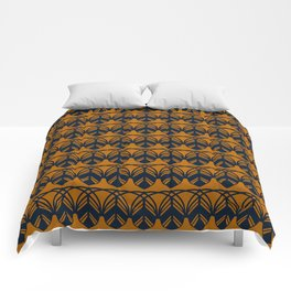 GATHER dark navy and mustard gold feather pattern Comforters