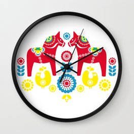 Swedish Dalahäst Wall Clock