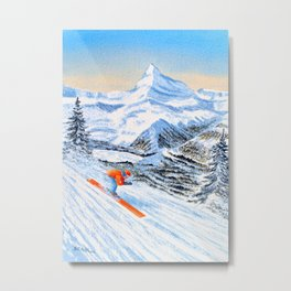 Skiing - Catch Me If You Can Metal Print