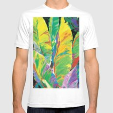 Exotic Leaves White Mens Fitted Tee MEDIUM