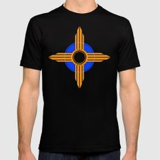 New Mexico Zia - Blue SMALL Mens Fitted Tee Black