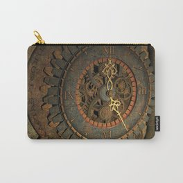 Steampunk, awesome clock, rusty metal Carry-All Pouch