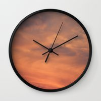 north carolina Wall Clocks featuring North Carolina Sunset by Veronica Ventress