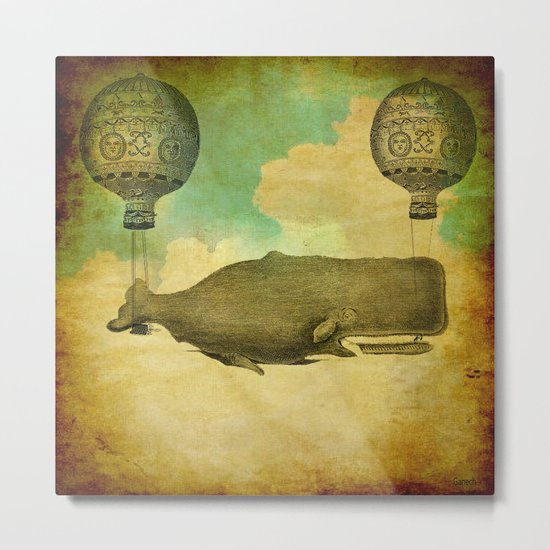 Floating whale Metal Print
