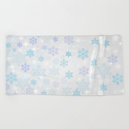 Christmas Winter Snowflakes Silver Blue Pattern Beach Towel