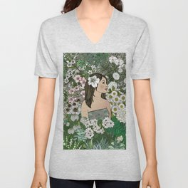 She Surrounded Herself With Flowers Unisex V-Neck