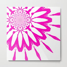 The Modern Flower White & Magenta Pink Metal Print