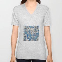 Multi Geometrical Pattern Faded Blues Unisex V-Neck