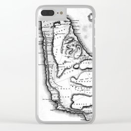 Vintage Map of Barbados (1823) BW Clear iPhone Case