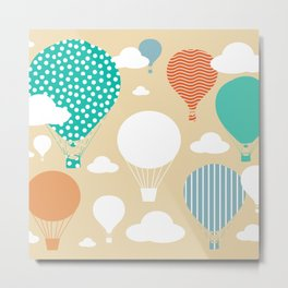 Hot air balloon neutral Metal Print