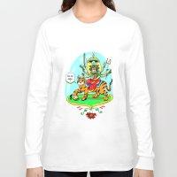 hindu Long Sleeve T-shirts featuring Durga Hindu Goddess by MARICAMA