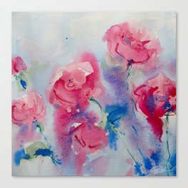 Roses in watercolor Canvas Print