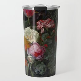 """Maria van Oosterwijck """"Roses, a parrot tulip, carnations, ears of wheat, hyacinths and other flowers Travel Mug"""