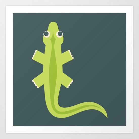 Letter L // Animal Alphabet // Lizard Monogram Art Print
