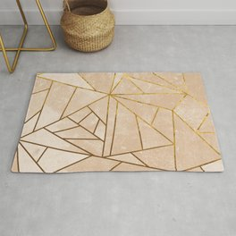 Rustic Stone With Modern Gold Accent Lines Rug