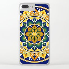 Italian Tile Pattern – Peacock motifs majolica from Deruta Clear iPhone Case
