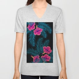 Palm Leaves Hibiscus Flowers Dark Exotica Unisex V-Neck
