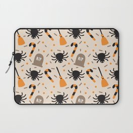 Happy halloween brooms, graves, spiders and sweets pattern Laptop Sleeve
