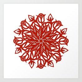 Folk art floral cut work in red Art Print