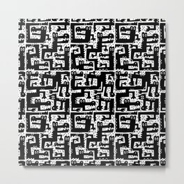 Alligator Alley Pattern Black/White Metal Print