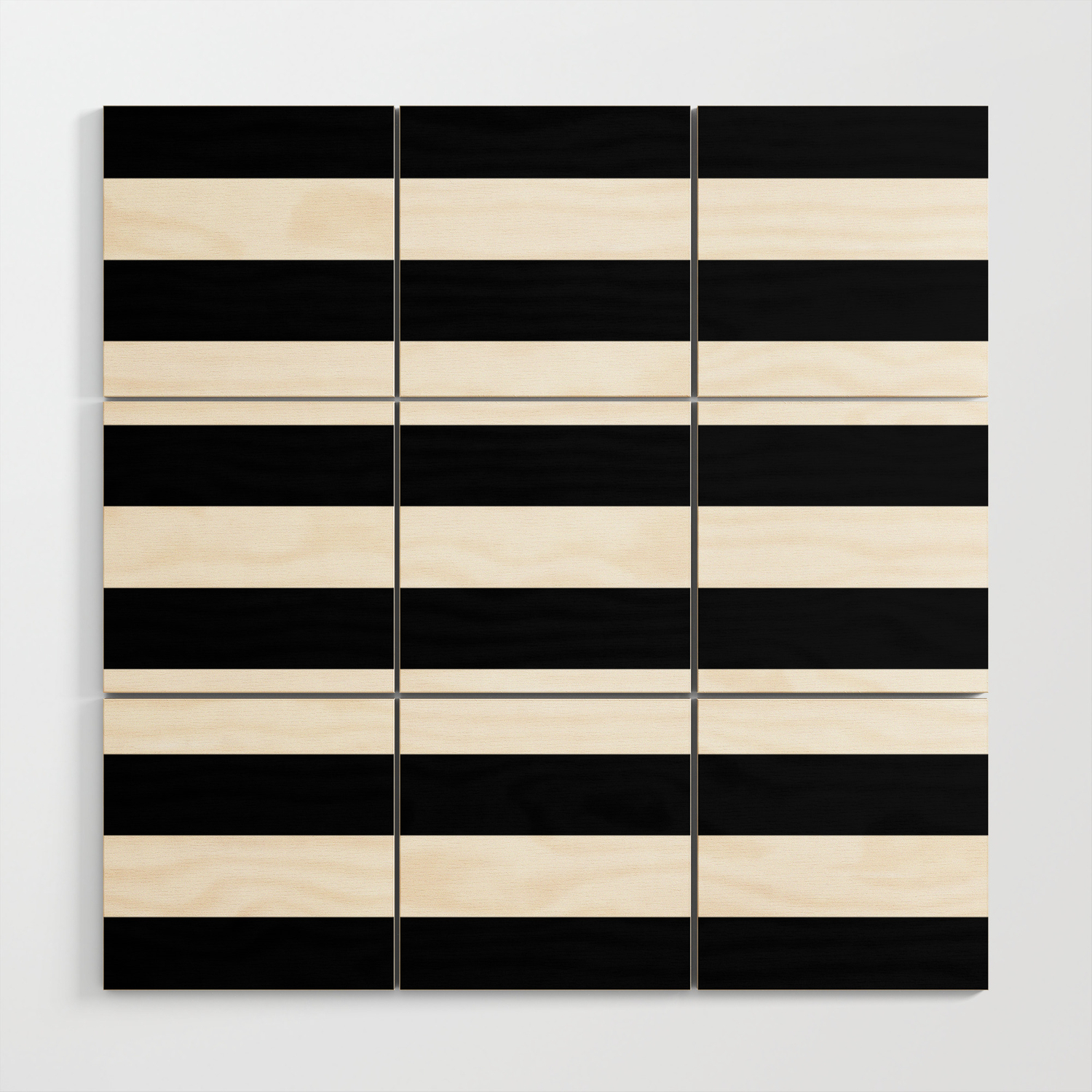 Stripe Black White Horizontal Line Bold Minimalism Wood Wall Art