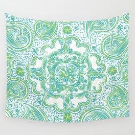 Paisley Mandala - Blue & Green Wall Tapestry