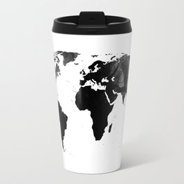 Black watercolor world map Travel Mug