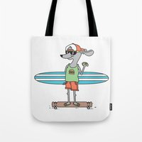 hot dog Tote Bags featuring Hot Dog by parallelish